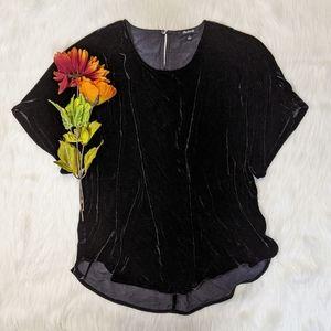 Madewell Black Velvet Top Size L